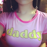 Idelly Summer Sexy Kawaii Daddy Pink Cropped Top Barbie Pink Short Tee Shirts Bodycon Crop T