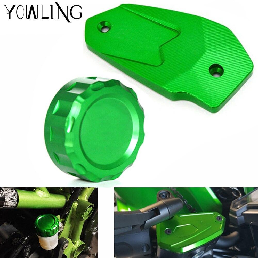 CNC Rear Fuel Brake Fluid Reservoir Cover Tank Cap Cylinder For Kawasaki Z800 ER6N ER6F VERSYS 650 ninja650 2013 2014 2015 2016