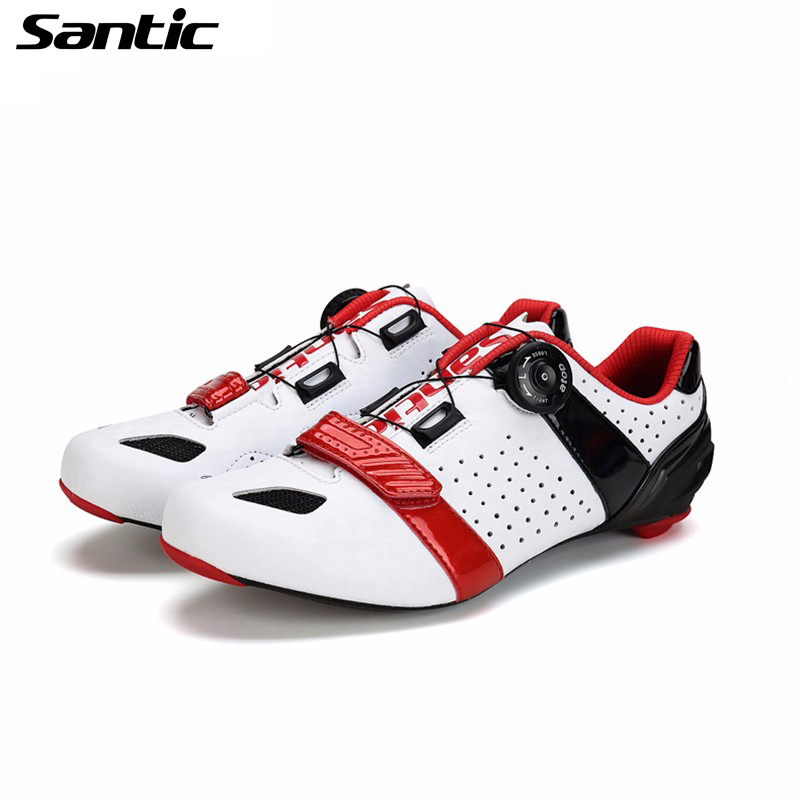 Chaussures de vélo de cyclisme en Fiber de carbone SANTIC chaussures de vélo de route pour hommes chaussures de vélo de route ultra-légères