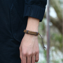 New Jewelry Punk Manufacturers Price Mens Retro Genuine Leather Bracelet Simple Knitted Rope Wholesale