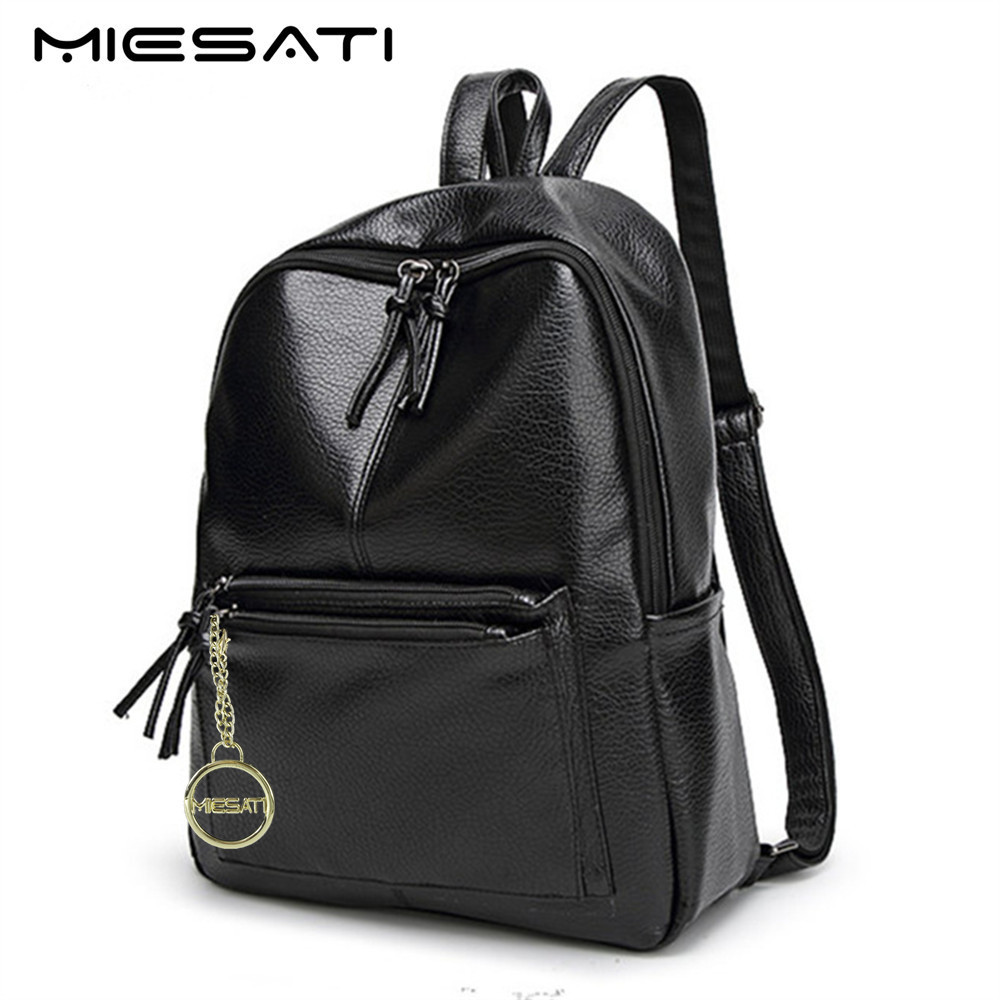 MIESATI Simple Travel Backpack For Teenage Girls Korean Female Rucksack Leisure Student School Bag Soft PU Leather Women Bag swdvogan new travel backpack korean women rucksack pocket genuine leather men shoulder bags student school bag soft backpacks