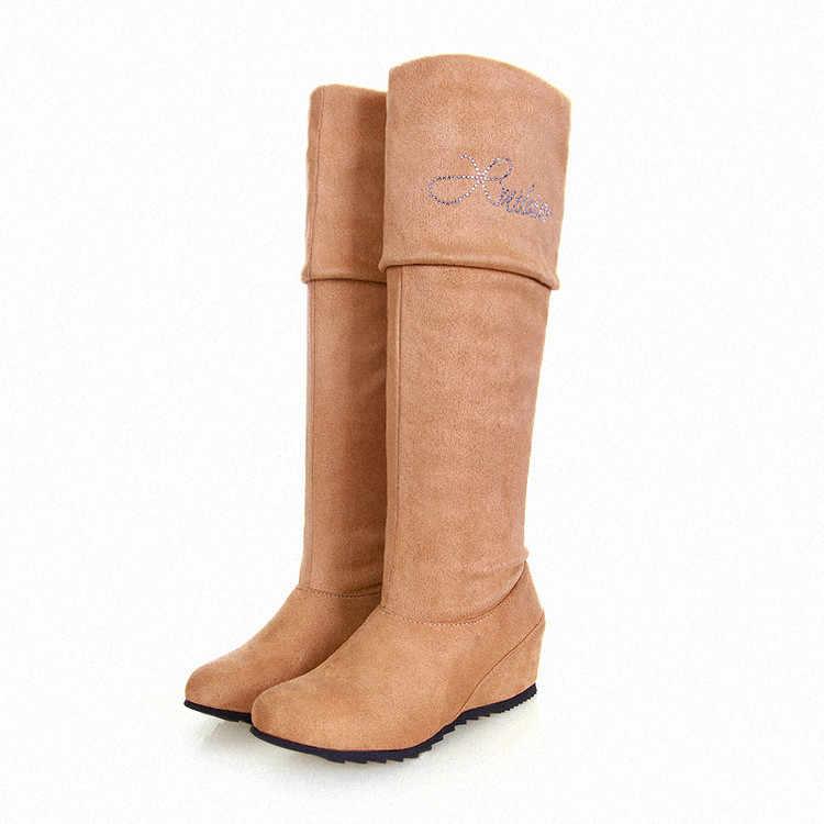 2017 Koştu Kış Çizmeler Botas Mujer Büyük Boy 34-47 Kadın Ayakkabı Uzun Çizmeler Yuvarlak Ayak Kare Yüksek Yükseklik artan Kaliteli Q6