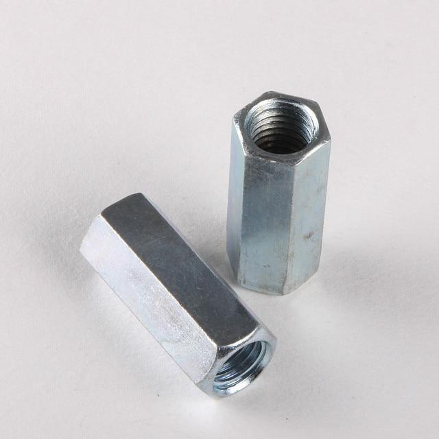 2PCS High Quality Galvanized Hex Nut Screw Coupling Nut Lengthened Nut M8 *30