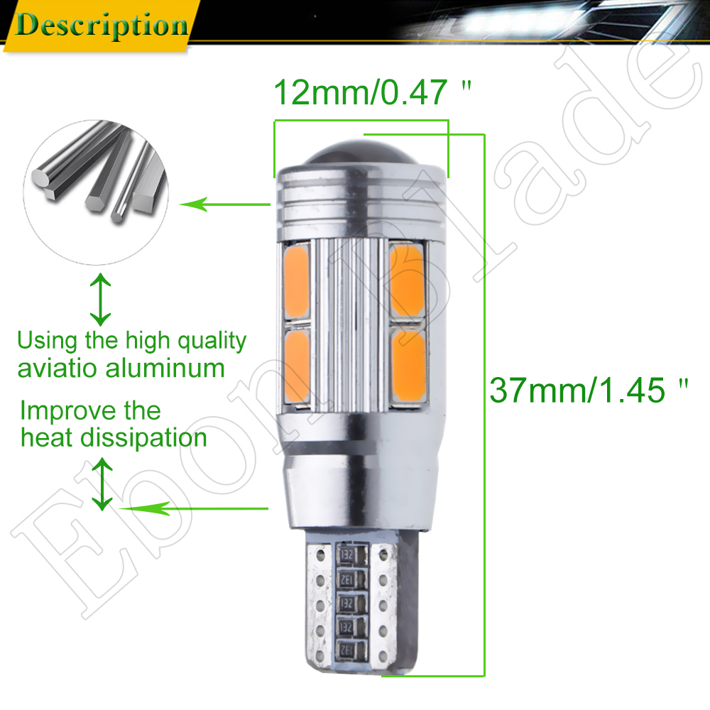 Image 3 - 2/4 Pcs T10 W5W 194 168 Car LED Light 5630 10SMD Canbus Error Free Auto Interior Side Turn Bulb Lamp Amber Yellow Oragne 12V DC-in Signal Lamp from Automobiles & Motorcycles