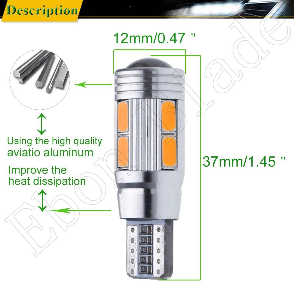 Image 3 - 2/4 шт T10 W5W 194 168 Автомобильные светодиодные 5630 10SMD Canbus Авто Интерьер клина стороны Паркер сигнальные лампы лампа Amber желтый 12 V-in Сигнальная лампа from Автомобили и мотоциклы