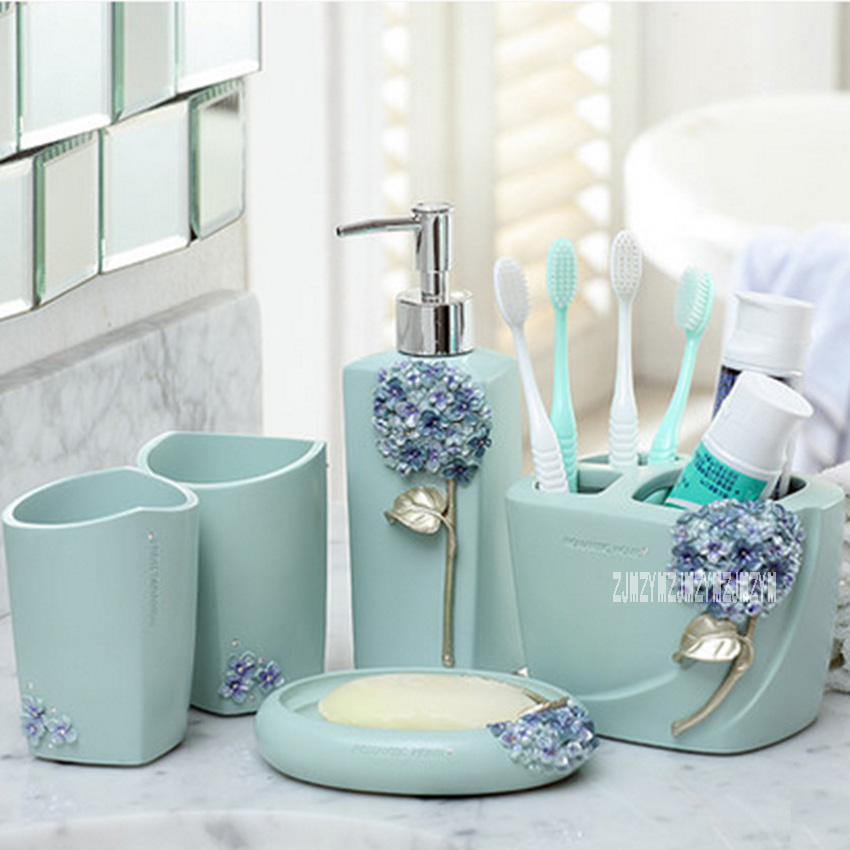 New Hot ZY100-WY Creative European-style Five-piece Bathroom Supplies Suite Toothpaste Bathroom Toothbrush Holder Rinse Cup Set