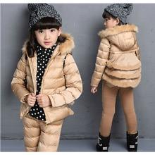 Дети бутик одежды комплект для девочки зима теплая золотой цвет мода стиль малыш костюм свободного покроя марка дизайн верхняя одежда фамильный герб