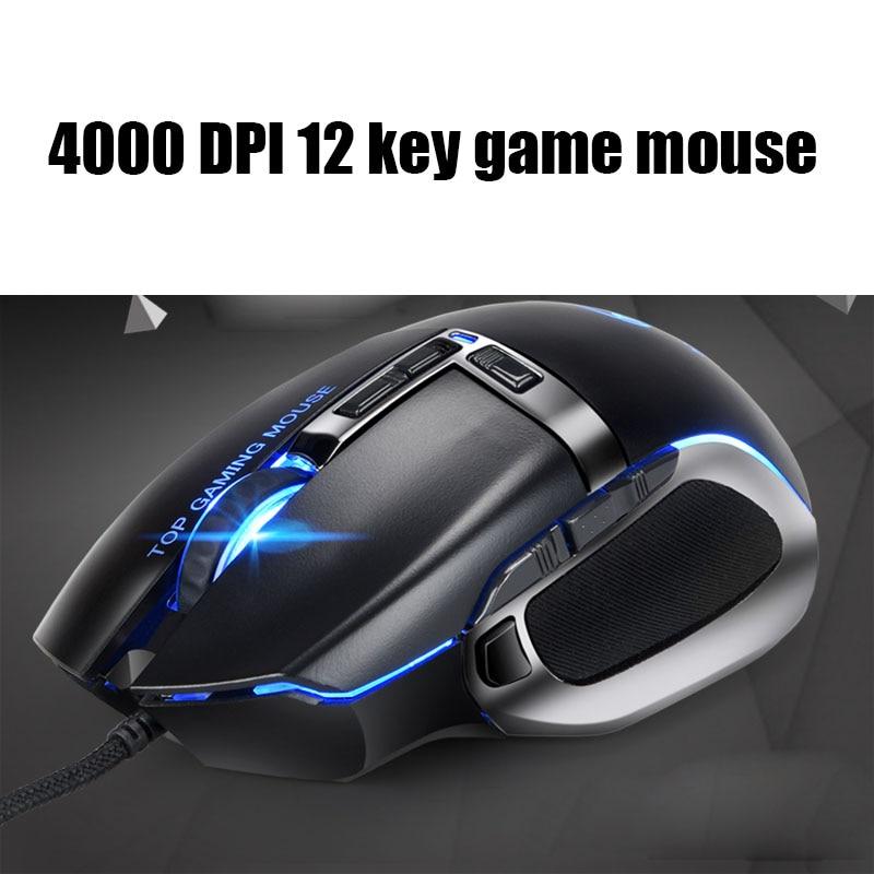 Nouveau 500 à 4000 DPI DPI réglable USB2.0 jeu filaire 12 touches souris compétition mécanique macro définit la souris pour WINDOWS PC