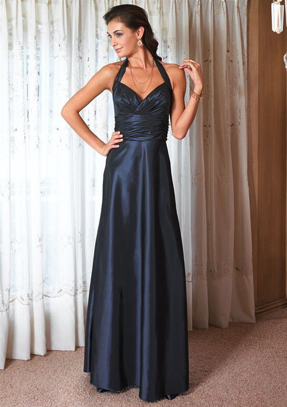 custom-made pleat maxi   dresses   halter 2016 new Fashion hot sexy cheap plus size   Bridesmaid     Dresses   vestido longo casamento