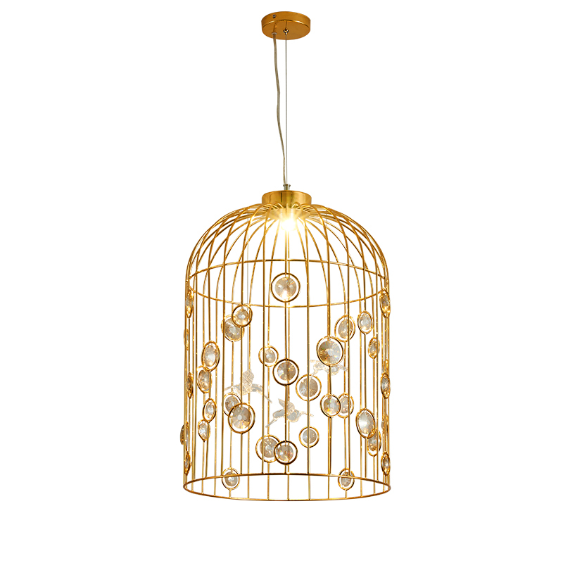 Retro American Country Iron Restaurant Chandelier Creative Personality Livingroom Bar Cafe Crystal Birdcage Lamp Free Shipping contemporary and contracted creative personality retro art glass chandelier cafe restaurant study lamps act the role of milan