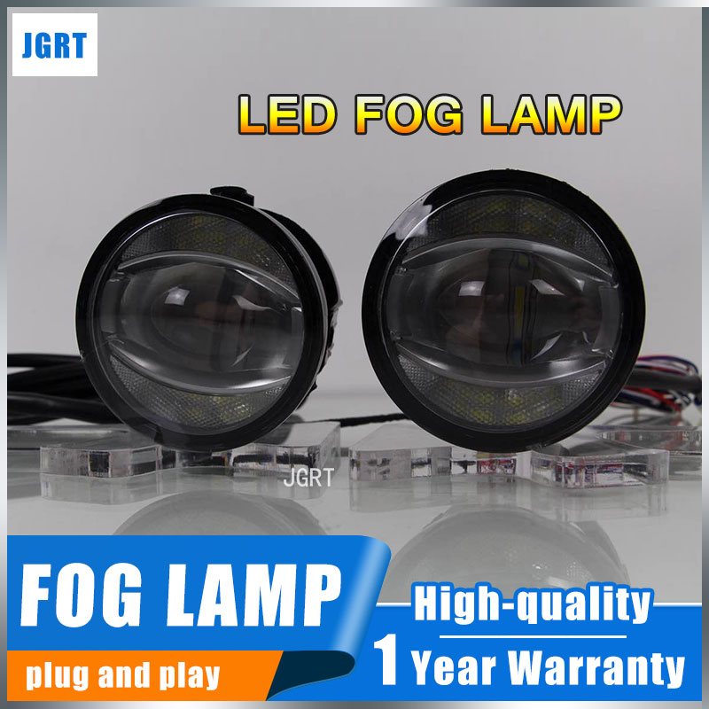 JGRT 2005-2012 For Nissan March fog lights+LEDDRL+turn signal lights Car Styling LED Daytime Running Lights LED fog lamps