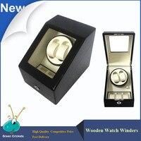 2 + 3 패션 daul 채널 자동 시계 와인 더, 5 모드 3 박스 케이스 잠금 블랙 나무 시계 와인 더