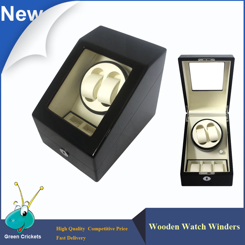 2016 Latest Fashion Daul Channel Automatic Watch Winder 5 Modes 3 Box Case Locks Black Wooden