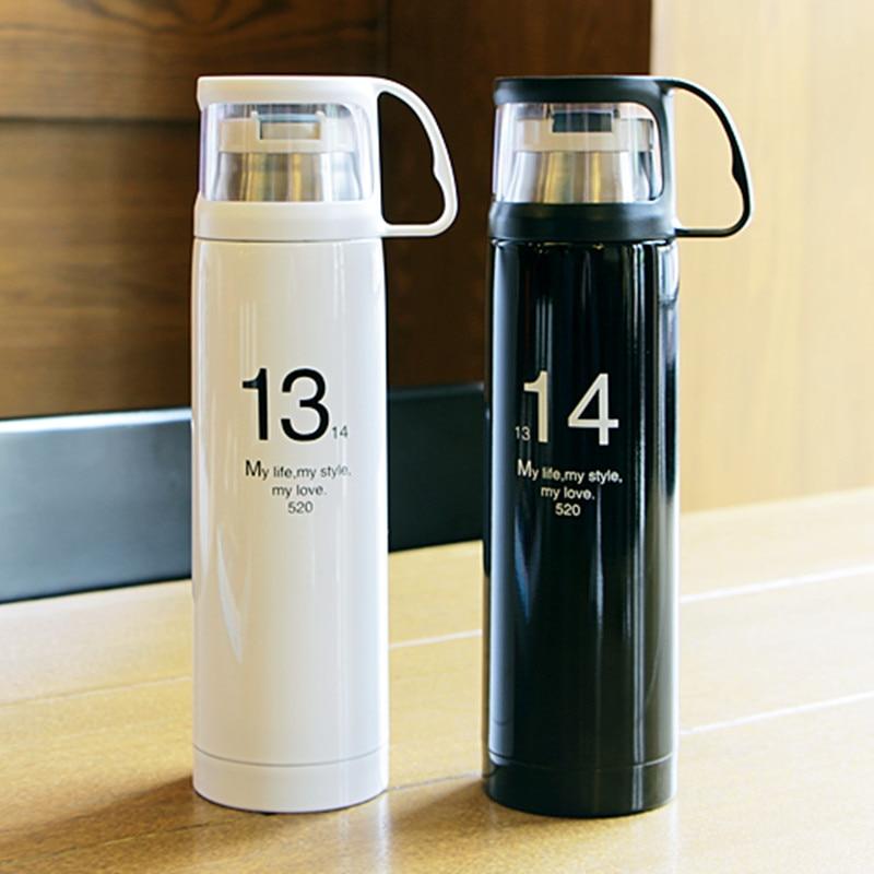 """כוס תרמוס אופנתית 350/500 מ""""ל בקבוק טרמו נירוסטה 12 שעות בידוד בקבוק ואקום מים תרמיים ספל קפה Drinkware"""