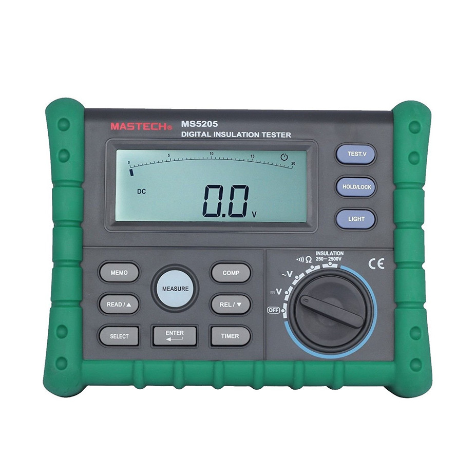 Meters Digital Insulation Resistance AC/DC Voltage Tester Megger MASTECH MS5205 mastech ms5215 high voltage digital insulation resistance tester megometro megger 5000v 3ma temp 10 70c
