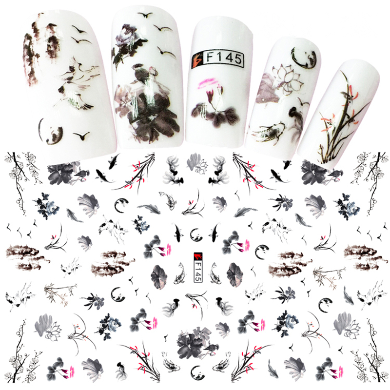 1 Sheets Elegant Chinese Ink Painting Styles 3D Nail Art Sticker Mixed Plum Flower Bird Designs Adhesive Craft Nails D