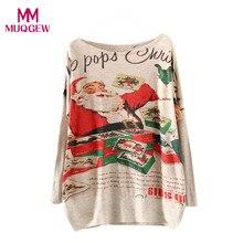 Women Long Sleeve Christmas sweater pullover Batwing Loose Winter Sweater Knitwear Tops jersey mujer invierno sueter feminino