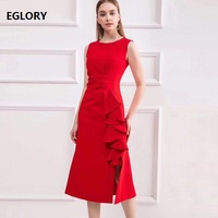 High Quality Brand Sleeveless Dress High Quality Women O Neck Split Sexy Ruffle Bodycon Sheath Dress Blue Red Black Party Wear