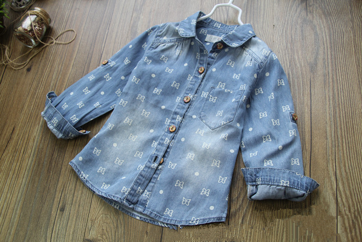 New Arrival Baby Girls Cotton Denim Shirts Girls Butterfly print Denim Blouse Kids Long Sleeve Soft