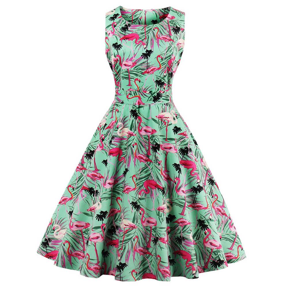 Wipalo New Plus Size Swan Flamingo Print Vintage Dress Women Pin Up Robe  Rockabilly A- 774736275df5