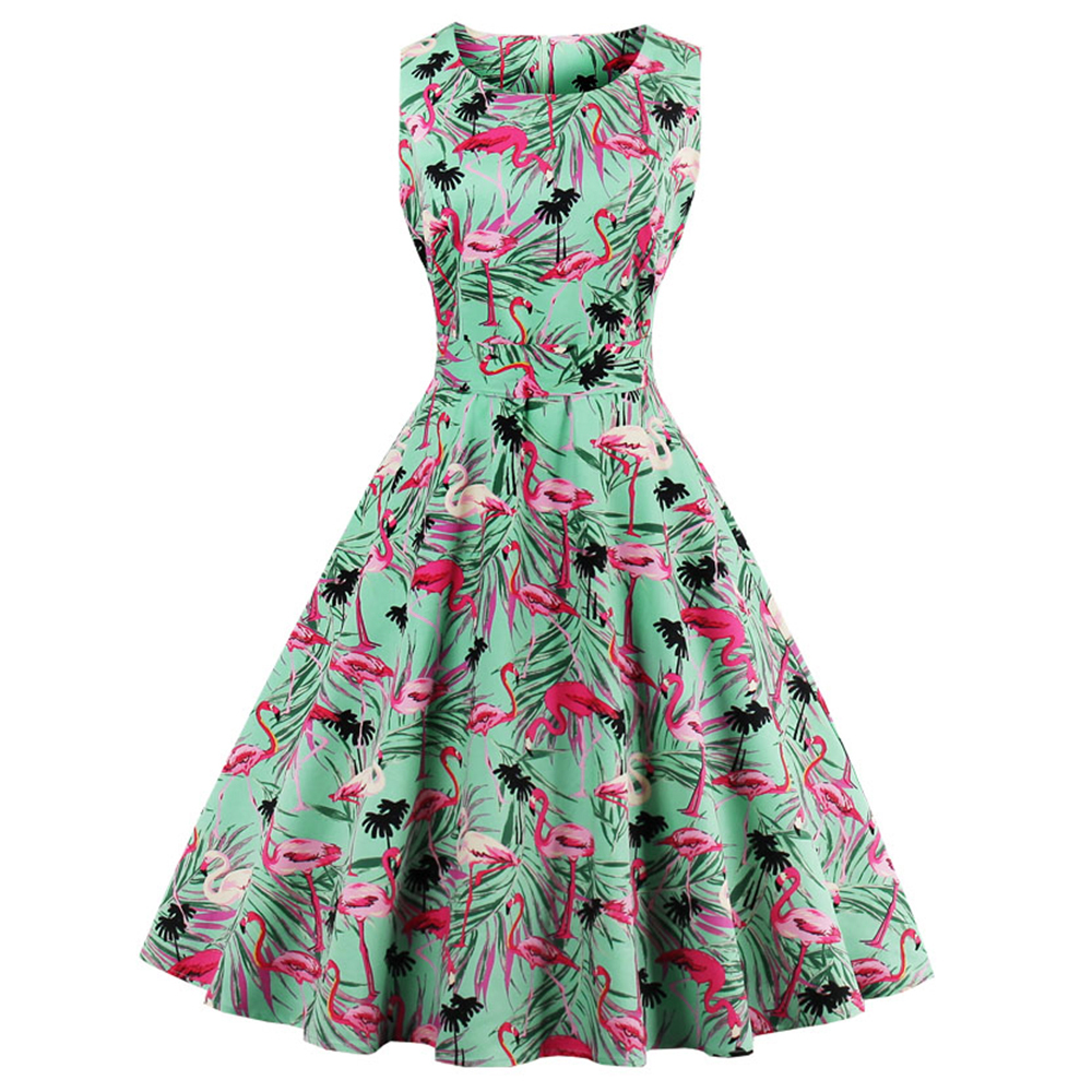 Detail Feedback Questions about Wipalo New Plus Size Swan Flamingo Print  Vintage Dress Women Pin Up Robe Rockabilly A line Party Dresses Feminino  Tunic ... f15a9b93fb58