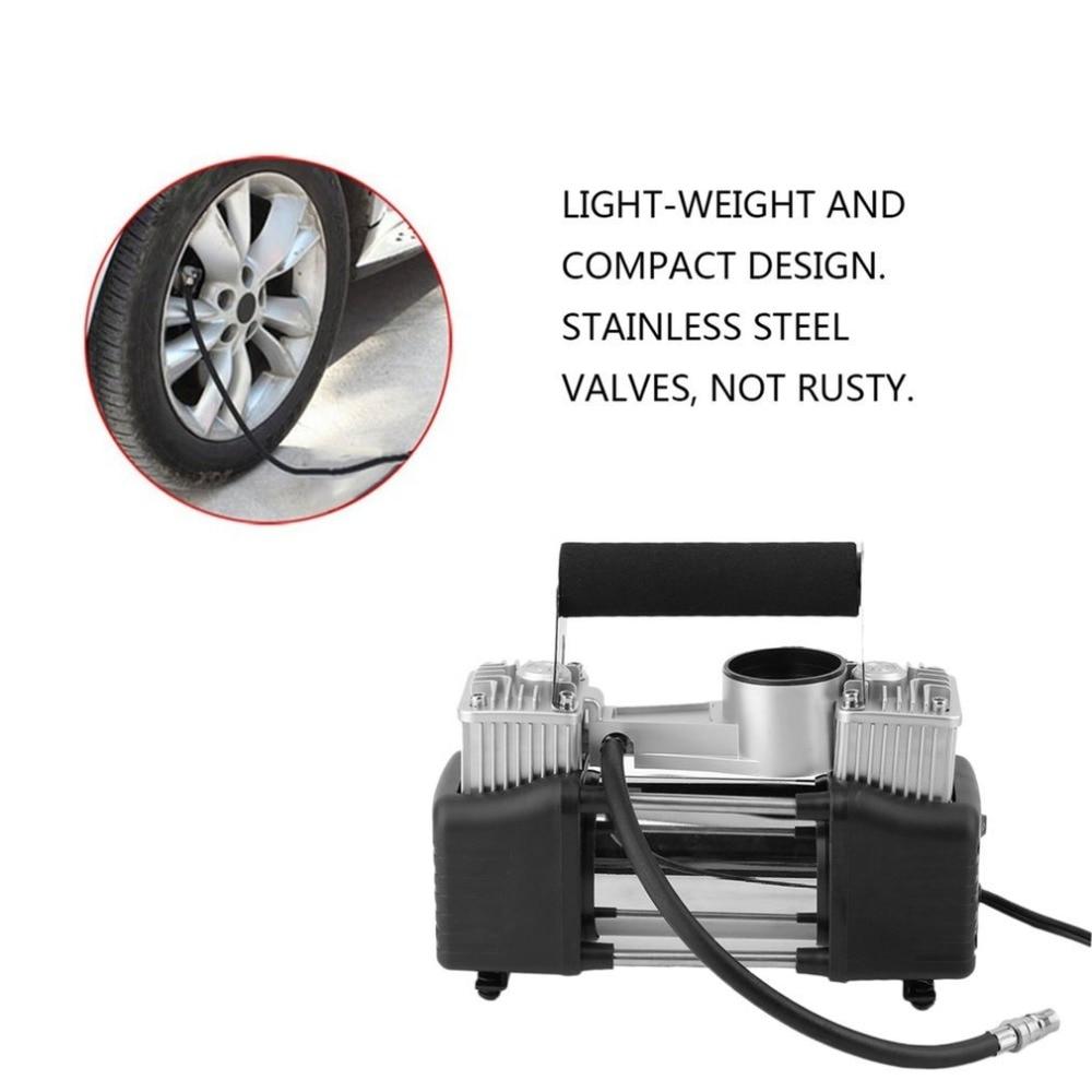 Auto Air Compressor 12V Portable Super Flow Car Tire Tyre Inflator Metal Vehicle Electric Pump Air Compressor Heavy Duty Set