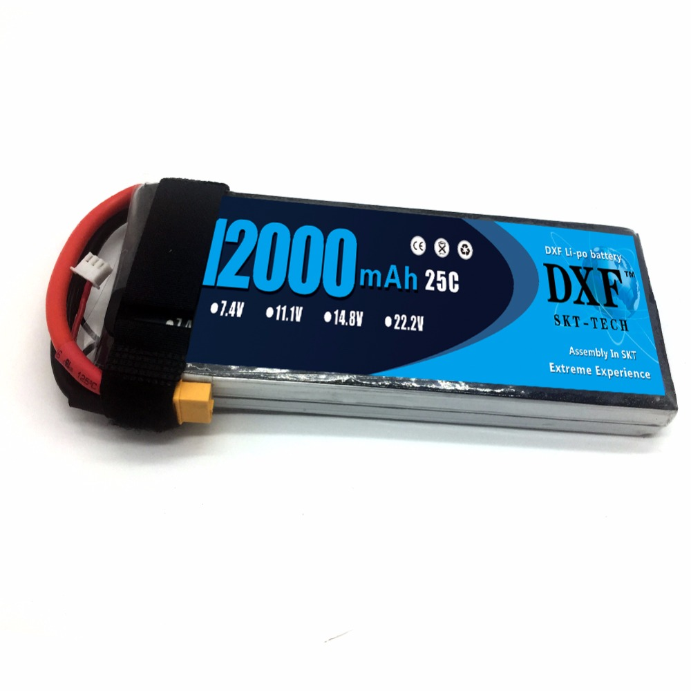 DXF 12000mAh 7.4V 2S 25C RC Lipo Battery For Helicopter S1000 Drone FPV UAV Car Boat Drone image
