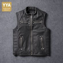 Top Brand 100% Real Cow Leather Sleeveless Jacket Mens Vest Zip Stand Collar Motorcycle Rock Luxury Leather Coats Plus Size 5XL(China)