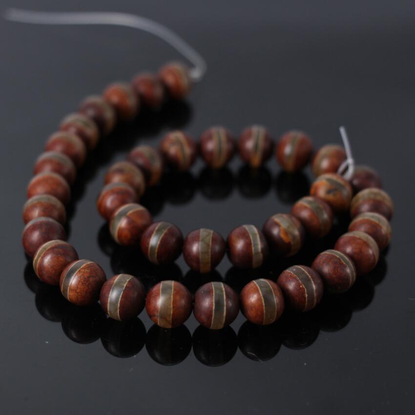 Single Line Beads: 2Strands/lot Of 8/10/12mm Brown Tibetan One Line Dzi Crack