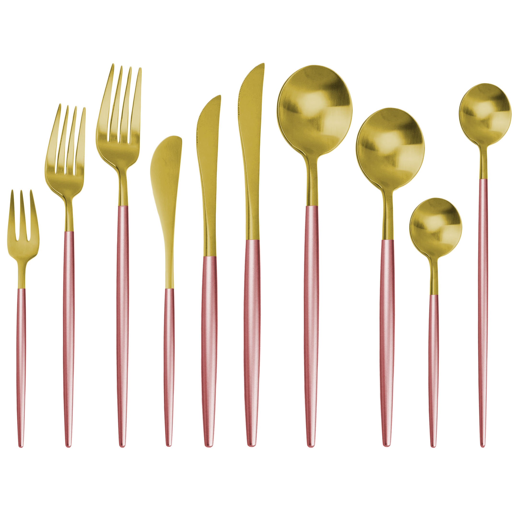 Juego de cubiertos de oro rosa 18/10, juego de cubiertos de acero inoxidable, cuchillo de mantequilla, postre, cuchara para cenas, tenedor, cuchara de hielo, juego de vajilla|Juegos de vajilla|   - AliExpress