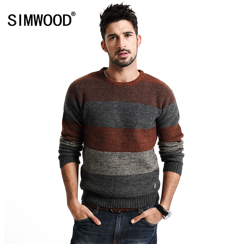 SIMWOOD New Autumn Winter warm sweater men long sleeve 66 wool pullovers fashion brand clothing MY2071