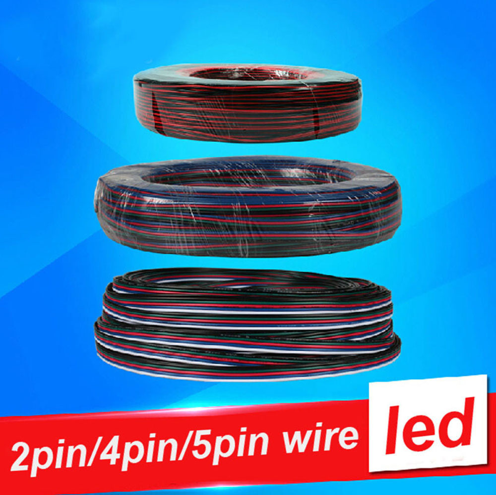 5m 10m 20m 30m 4 PIN RGB Led wire cable LED RGB cable Extension Wire Cord For RGB rgbw single color 5050 3528 LED Strip Light 5m 10m 20m 50m 2pin single 3pin 2811rgb 5pin rgbw extension 4pin rgb white rgb black wires connector cable for rgb led strip