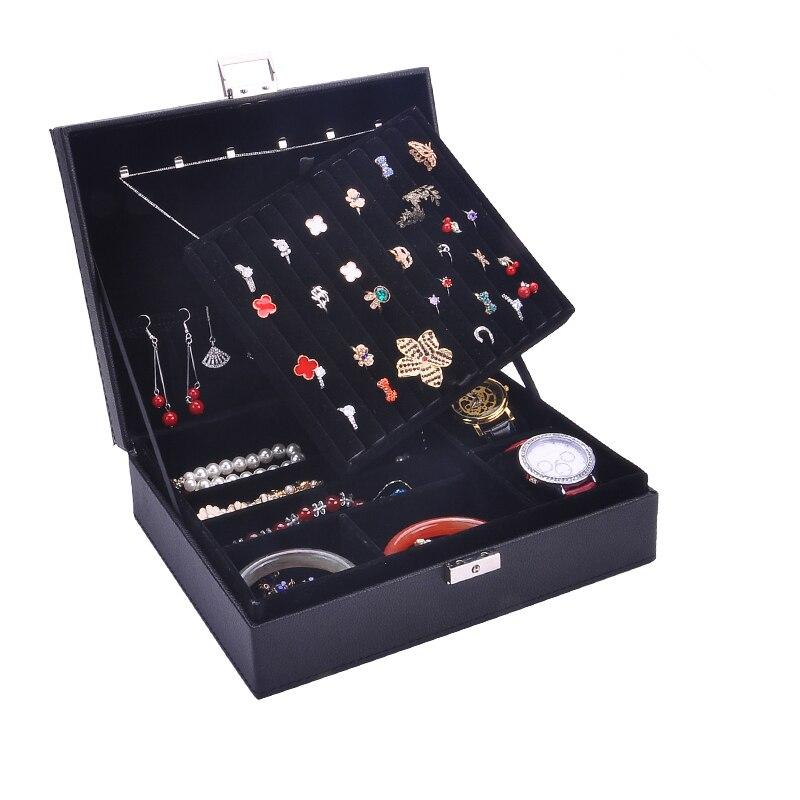 Guanya mujeres de cuero rectangular anillos de embalaje pendientes organizador de almacenamiento caja de exhibición exquisita caja de joyería de viaje regalo - 6