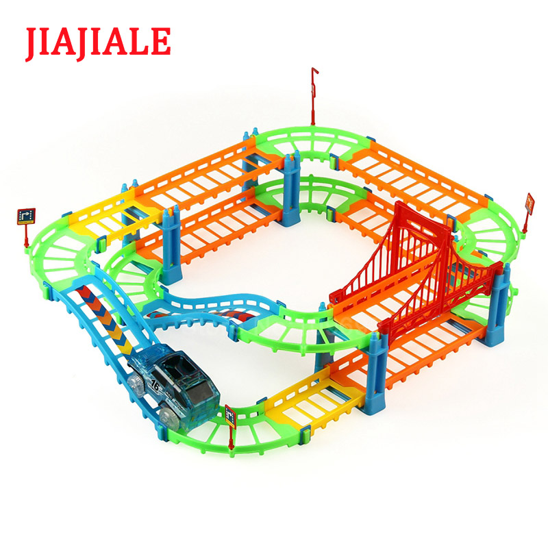 JIAJIALE Colorful DIY set track car light multi-styling transformation Puzzle Learn educational toys gifts for children kids