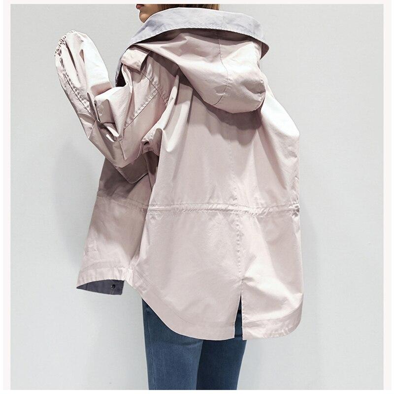 Tranchée Zipper vent gray Harajuku Avec khaki Capuche Style Lâche Femmes Nouveau Survêtement Mode 2018 Pink off Occasionnel De White Automne Manteau Coupe Femelle Wnc6SPH