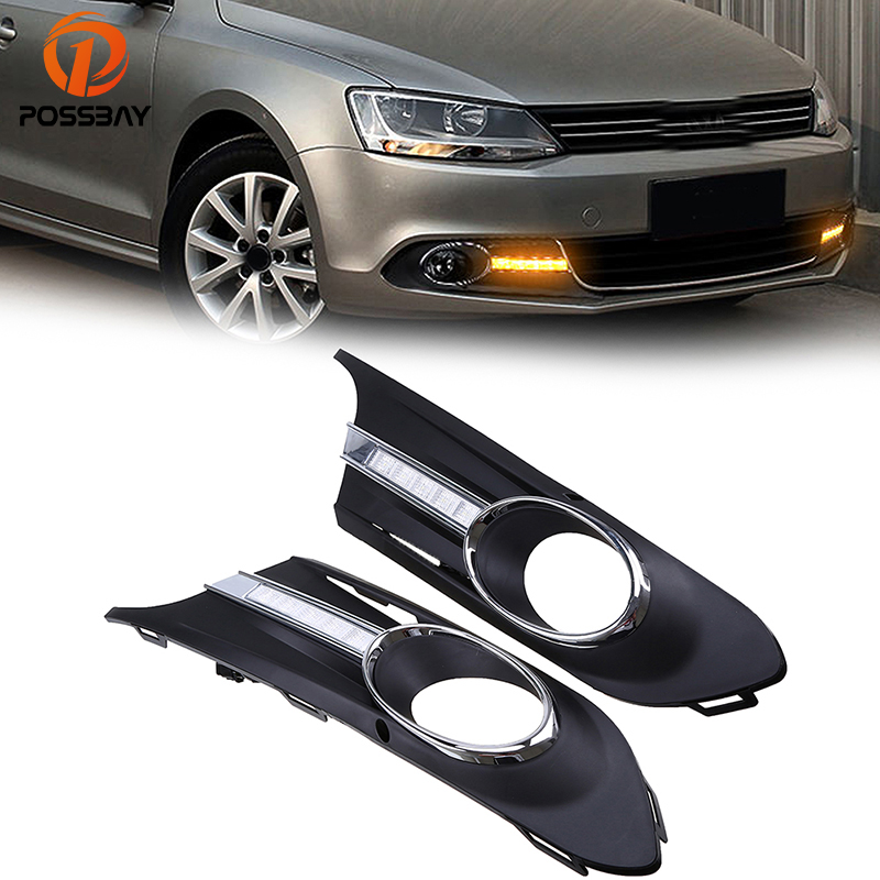 цена на POSSBAY Car Front Daytime Running Turn Signal Lights Fog Lihgt Cover Mask Grille for VW JETTA MK6(Typ 5G) 2011-2013 Pre-facelift