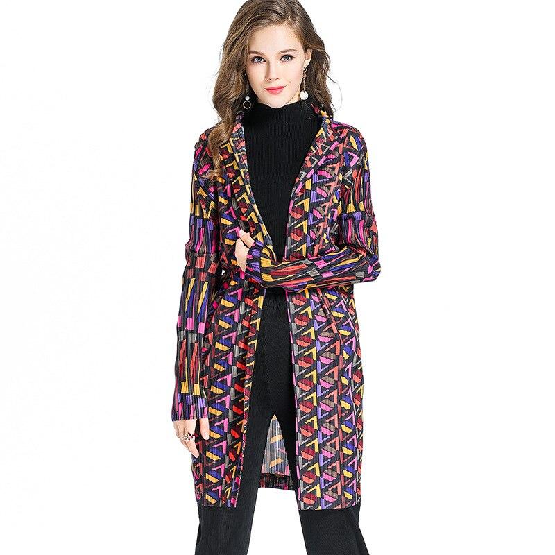 Printemps Revers Miyake Livraison Manteau Picture coat Color Extensible Automne Taille Élégant D'impression Femmes Plis Grande Trench Gratuite Mince Nouveau xwBHIqKA0