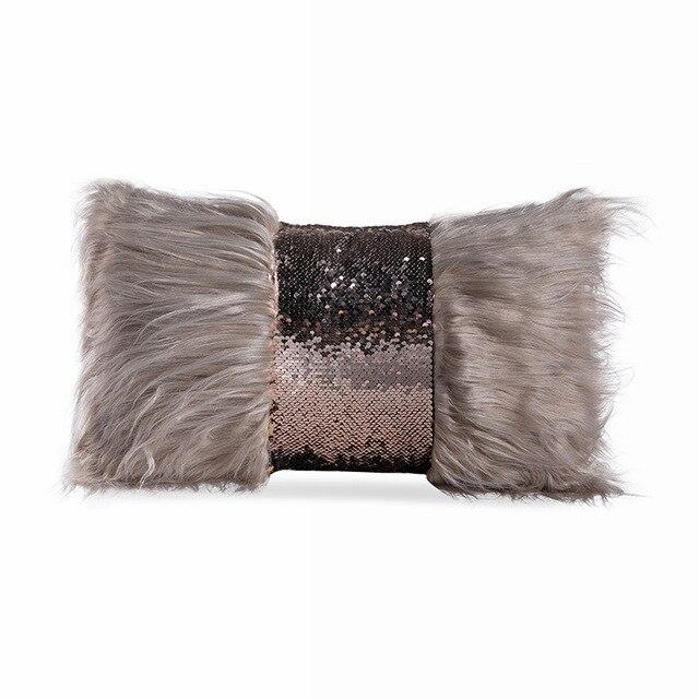 Grey Faux Fur Rectangle Cushion Cover 5