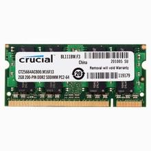 Memória crucial do portátil ddr2 667/800 mhz 1.8v cl5 200pin ddr2 2gb 4gb ram do portátil 4gb = 2 pces * 2g PC2-5300/6400s