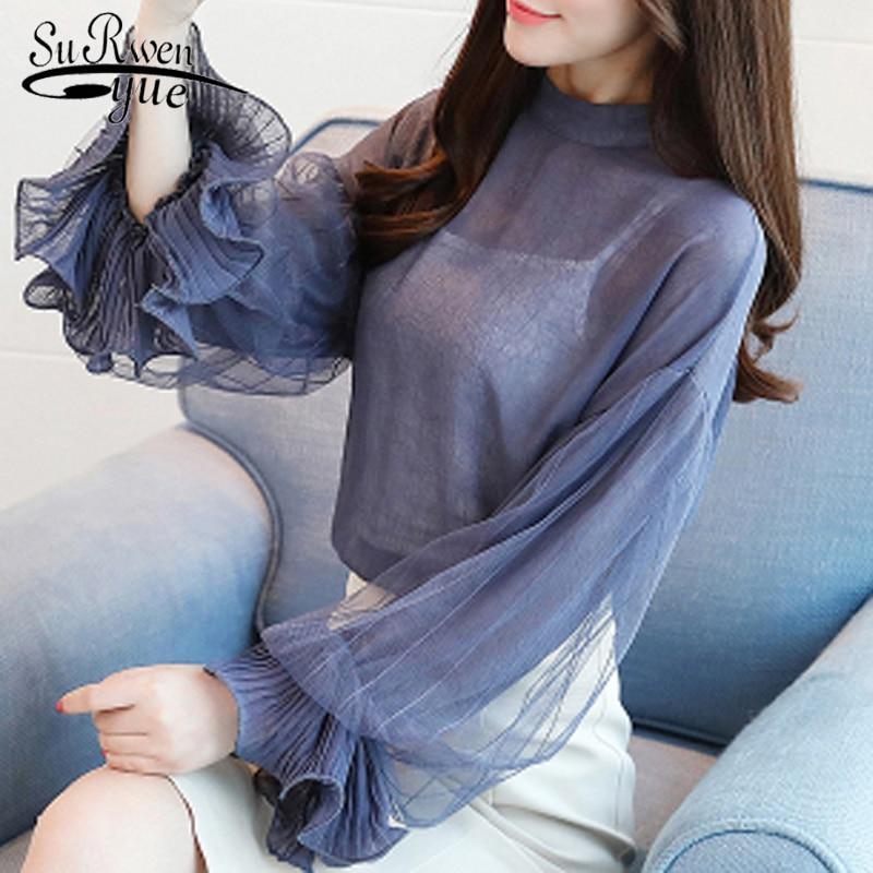 fashion chiffon   blouse   women   shirt   long sleeve lace ladies tops chiffon women   blouse     shirt   blue women's clothing blusas 0186 30
