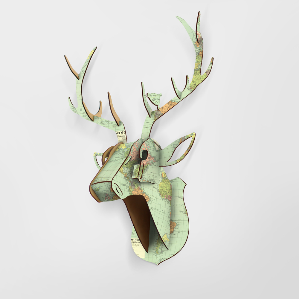 Limit Animal Christmas Reindeer Head Wooden Wall Hanging For Living - Hiasan rumah - Foto 5
