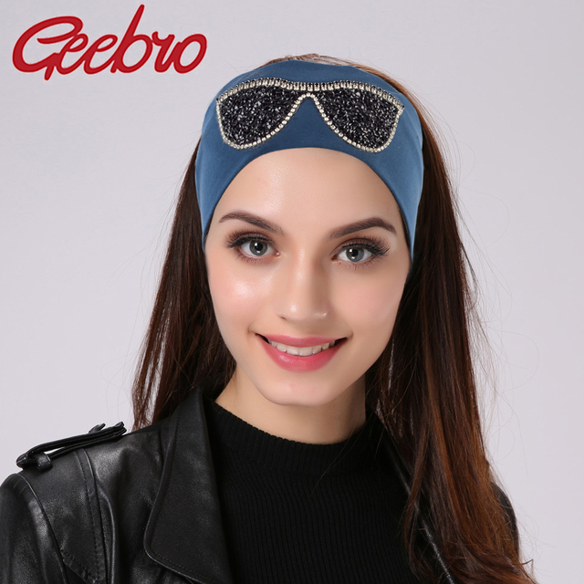 Geebro Brand Women s Headbands Casual Cotton Sunglasses Head Bands For Women  Shine Rhinestones Headwear Girls Glass Head Band c36cb709973