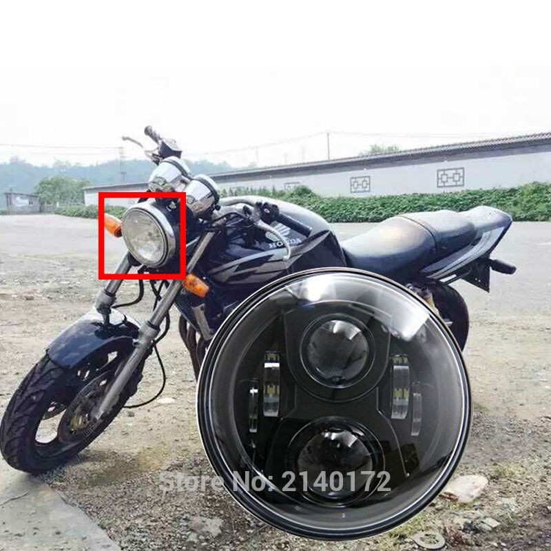 Hot Sale Black 7 INCH LED Projector Headlight High Low Beam for Honda CB400 CB500 CB1300 Hornet 250 600 Front headlamp L001 cool cow leather star cover book style pendant necklace brown