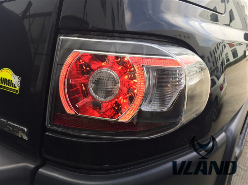 Free shipping for VLAND Car Tail Lamp For Toyota FJ Cruiser LED Taillight Plug and Play Design fit for Year Model 2007-2015 4pcs set smoke sun rain visor vent window deflector shield guard shade for toyota fj cruiser 2007 2014