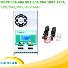 MPPT 120A 80A 60A 40A güneş şarj regülatörü arkadan aydınlatmalı LCD güneş regülatörü 12V 24V 36V 48V otomatik asit ve lityum konektörü