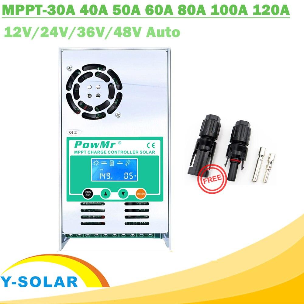 MPPT 120A 80A 60A 40A Regolatore di Carica Solare Retroilluminazione LCD Regolatore Solare 12 v 24 v 36 v 48 v auto per L'acido e Al Litio Spedizione MC4