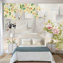 Chinese style 3D printed custom mural wallpaper roses floral combination bump space geometric pattern household decor wall