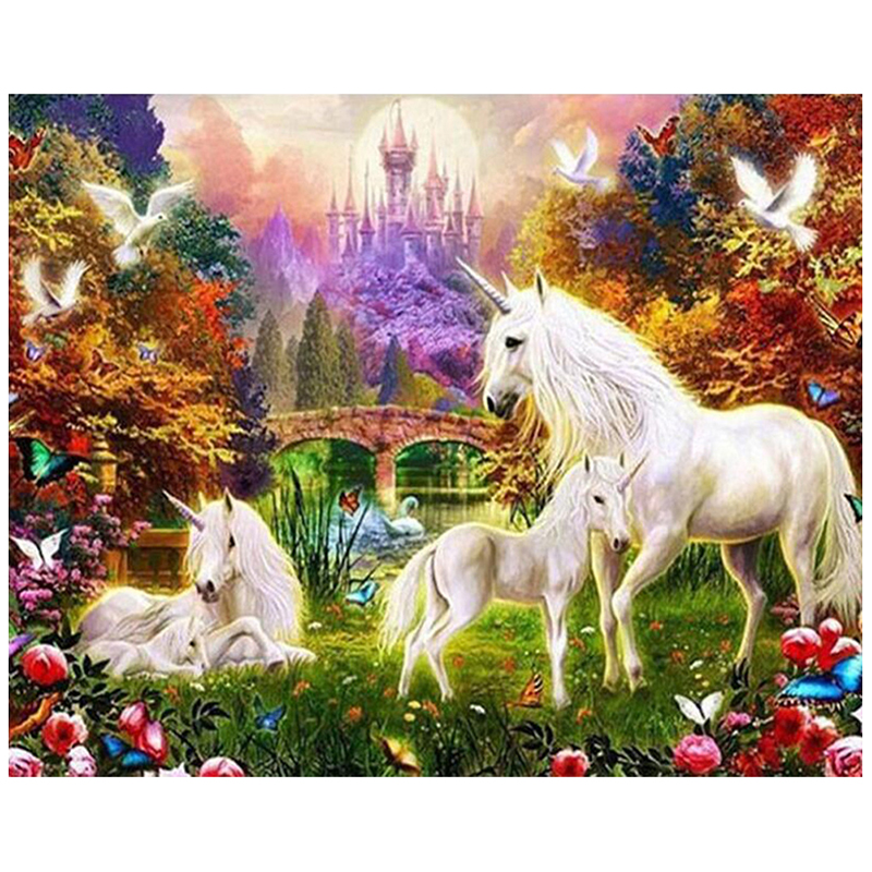 5D Diy Diamond painting unicorn Diamond Embroidery horse Full Square Diamond mosaic Rhinestones Crafts Embroidery Animals