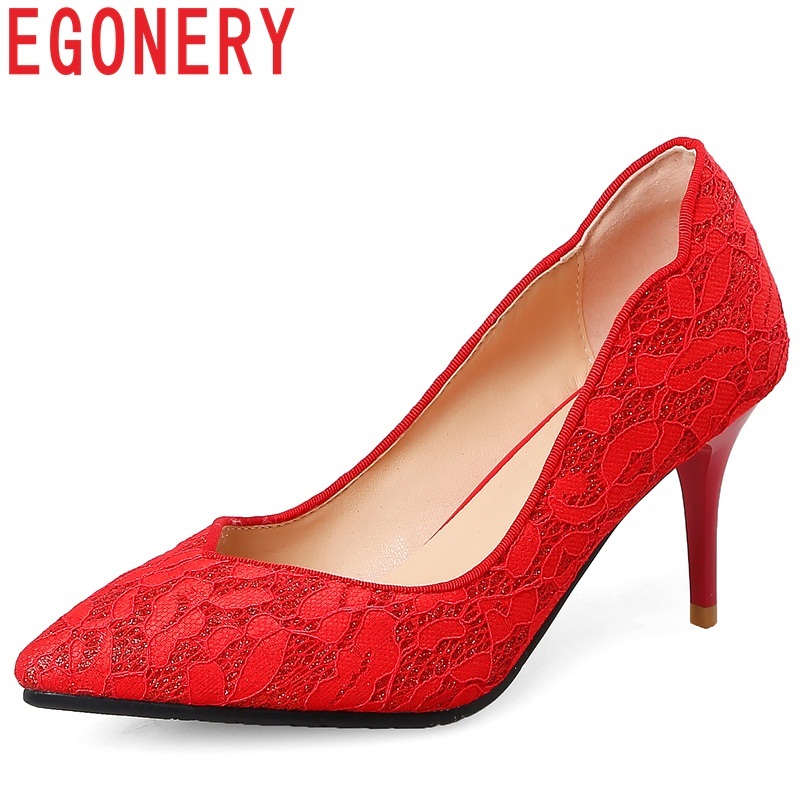 EGONERY women shoes new fashion sexy lace pointed toe super high thin heels elegant wedding shoes slip-on shallow red lady pumps fletite top quality elegant embroidery 8 color women pumps pointed toe thin high heels 2018 new fashion luxury women shoes brand