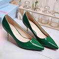 2016 Primavera Verão New Feminino Trabalho de Escritório Ol Sapatos Altos Apontou Couro-salto alto Sapatos Único Populares G328